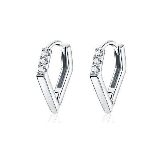 Ezüst fülbevaló, modern vonalú, cirkóniumkristállyal, ezüst színben