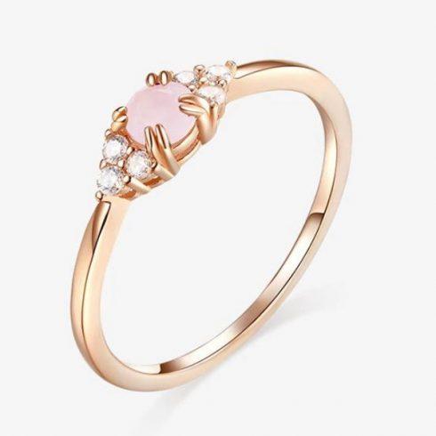 Ezüst gyűrű üveglencsével, cirkóniumkristállyal, rosegold, 6-os méret