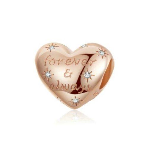 Ezüst szív charm cirkóniumkristállyal, rosegold -  Pandora stílus