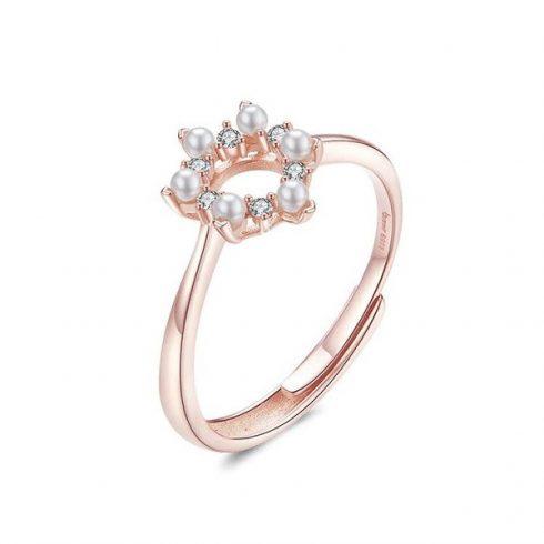 Ezüst gyűrű virággal, rosegold
