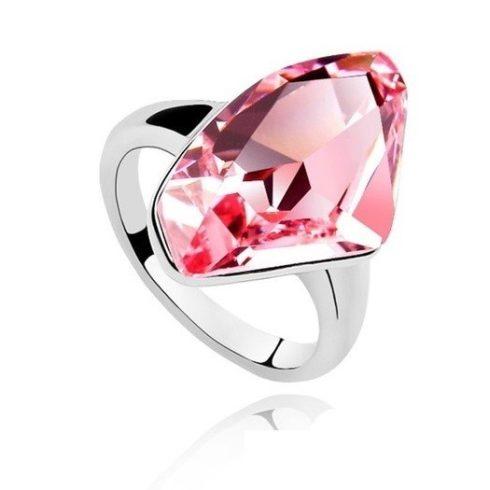 Gyémánt formájű gyűrű, Világos rózsaszín, Swarovski köves, 6,5