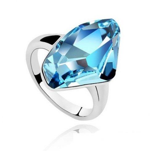 Gyémánt formájű gyűrű, Aquamarine, Swarovski köves, 6,5
