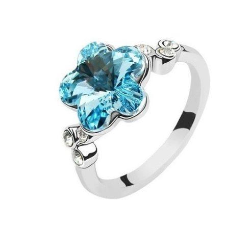 Virág formájú gyűrű, Aquamarine, Swarovski köves, 5,5