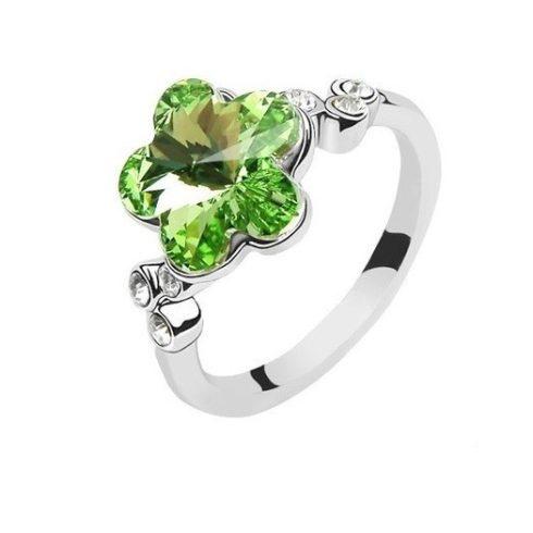 Virág formájú gyűrű, Peridot zöld, Swarovski köves, 6,5