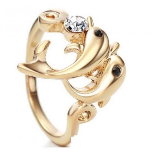 Delfines gyűrű, Fehér, Swarovski köves, 6