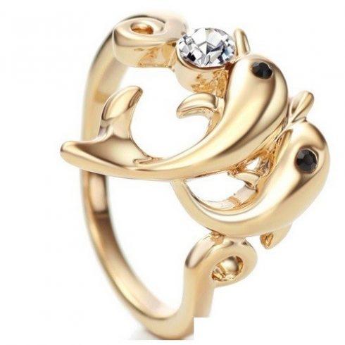 Delfines gyűrű, Fehér, Swarovski köves, 8