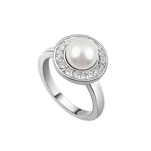 Gyöngyös gyűrű, Swarovski köves, 6,5