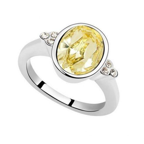 Kerek köves gyűrű, Sárgásfehér, Swarovski köves , 7,25