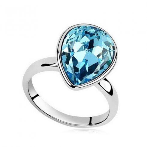 Vízcsepp kristály gyűrű, Aquamarine, Swarovski köves, 6,5