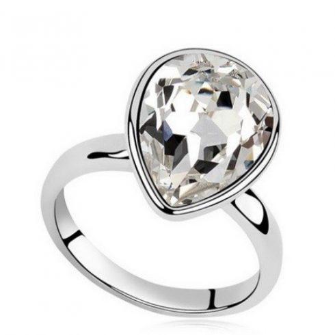 Vízcsepp kristály gyűrű, Kristály, Swarovski köves, 6,5