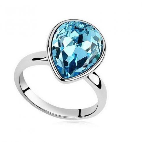 Vízcsepp kristály gyűrű, Aquamarine, Swarovski köves, 7,25