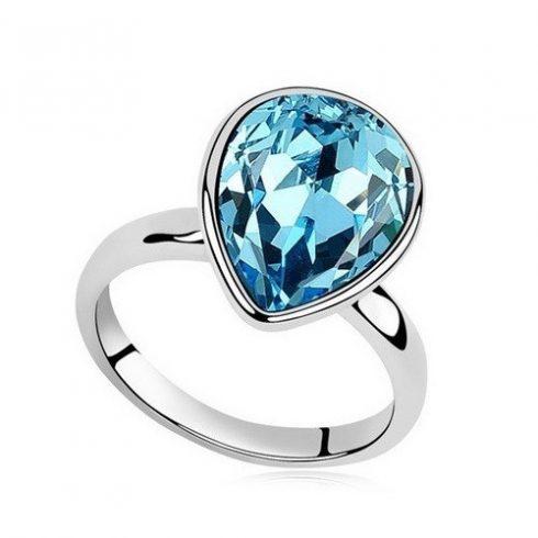 Vízcsepp kristály gyűrű, Aquamarine, Swarovski köves, 8
