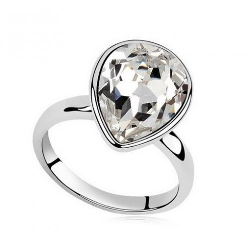 Vízcsepp kristály gyűrű, Kristály, Swarovski köves, 7,25