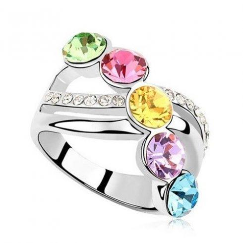 Elegáns köves gyűrű, Multicolor, 6,5