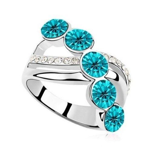 Elegáns köves gyűrű, Kék Zircon, 6,5
