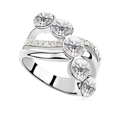 Elegáns köves gyűrű, Kristály, 6,5