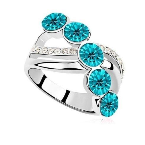 Elegáns köves gyűrű, Kék Zircon, 7,25