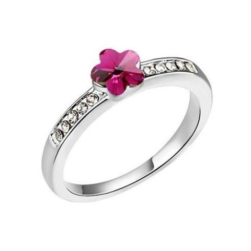 Virág alakú gyűrű, Fukszia, Swarovski köves, 5,5
