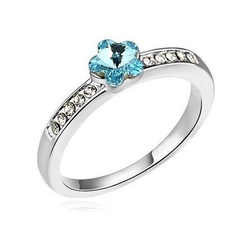Virág alakú gyűrű, Aquamarine, Swarovski köves, 5,5