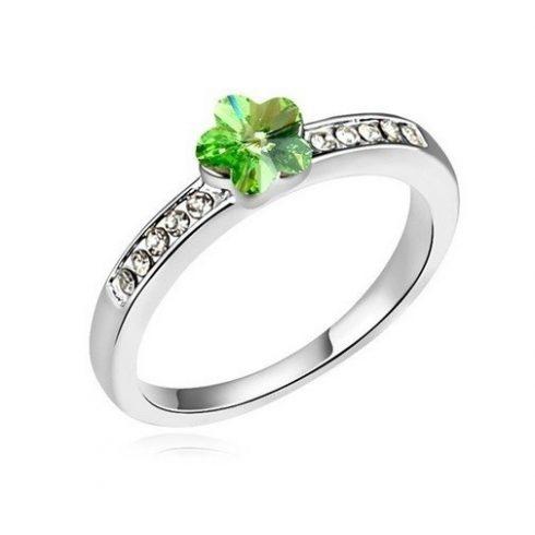 Virág alakú gyűrű, Peridot zöld, Swarovski köves, 8,5