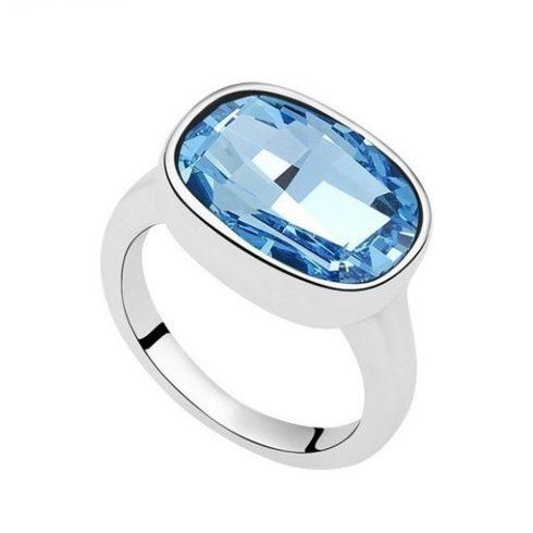 Ovális gyűrű, Aquamarine, Swarovski köves