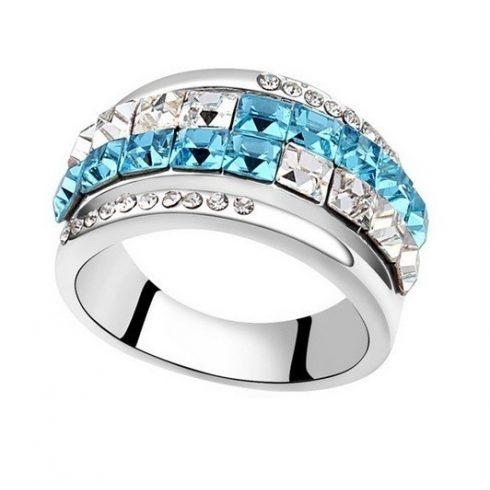 Kocka köves karika gyűrű, Aquamarine, Swarovski köves, 7,5