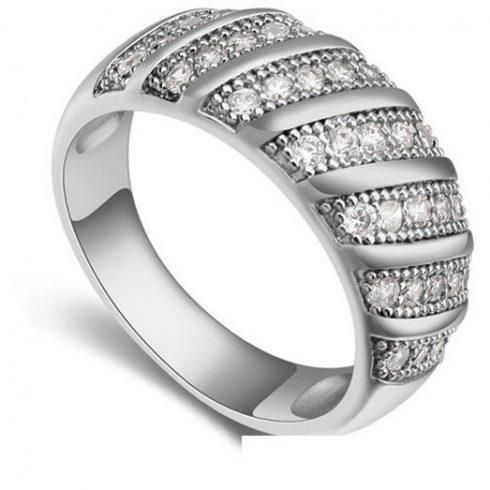 Divatos karika gyűrű, Rhodium, 6,5