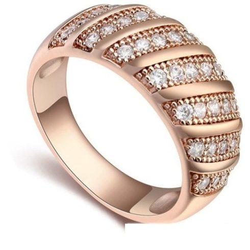 Divatos karika gyűrű, Pezsgő Arany, 7,5