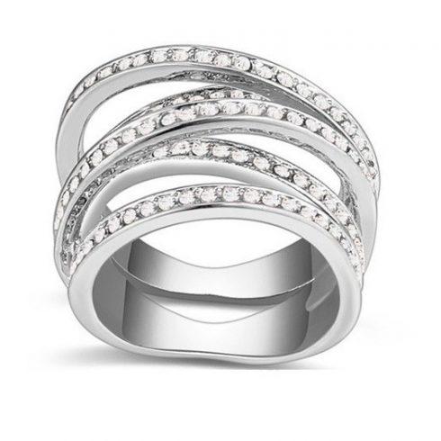 5 sávos gyűrű, Kristály, 6,5