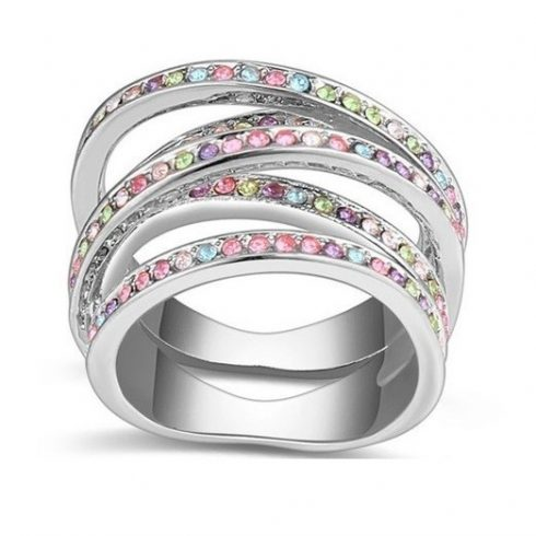 5 sávos gyűrű, Multicolor, 6,5