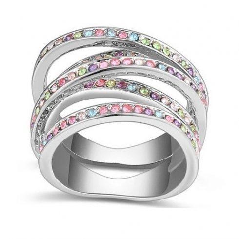 5 sávos gyűrű, Multicolor, 8,5