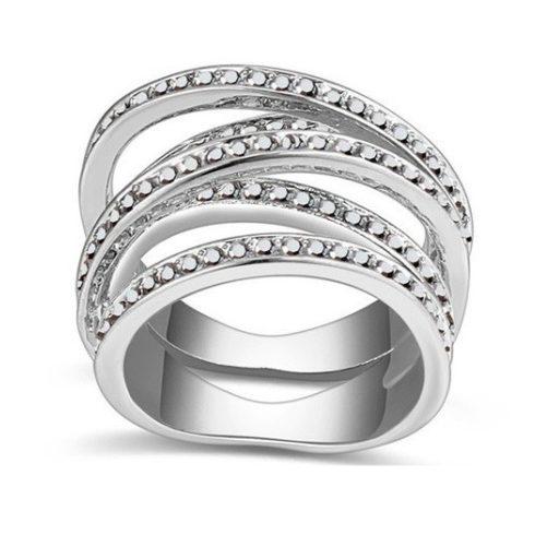 5 sávos gyűrű, Jet fémes ezüst, 8,5