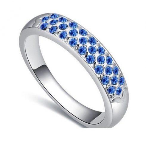 Ezüst színű karika gyűrű, Zafír, 6,5
