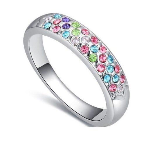 Ezüst színű karika gyűrű, Multicolor, 6,5