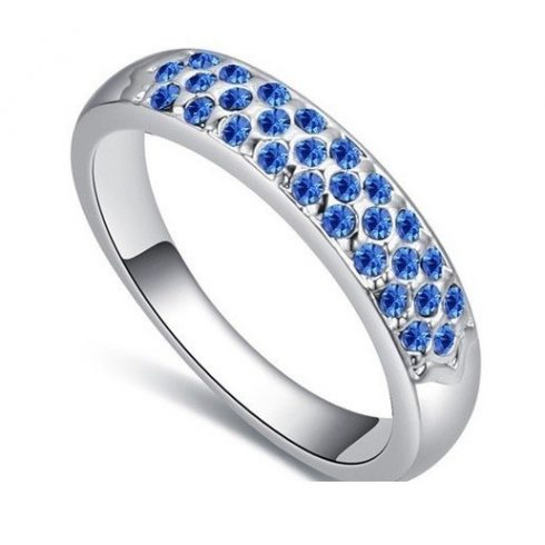 Ezüst színű karika gyűrű, Zafír, 8,5