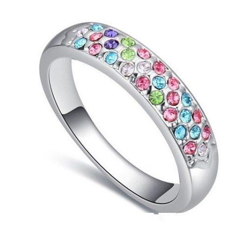 Ezüst színű karika gyűrű, Multicolor, 8,5