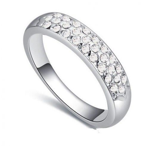 Ezüst színű karika gyűrű, Kristály, 7,5