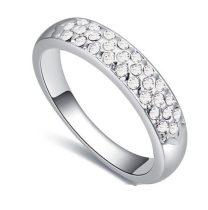 Ezüst színű karika gyűrű, Kristály, 8,5