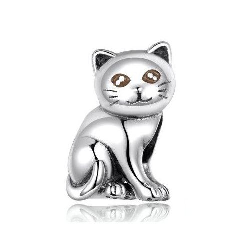 Ezüst charm, macska -  Pandora stílus