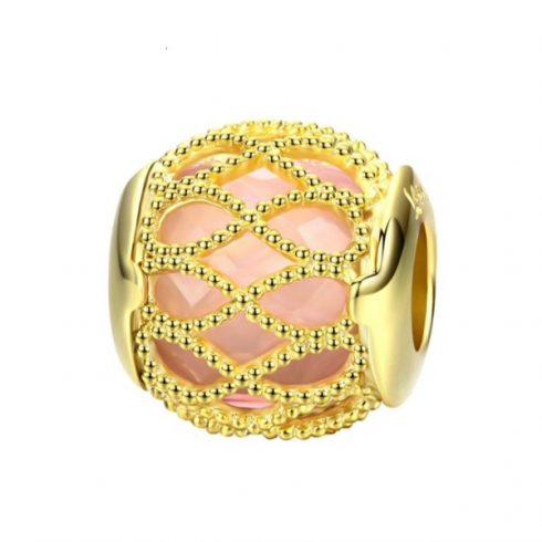 Ezüst charm, gyöngy, arany -  Pandora stílus