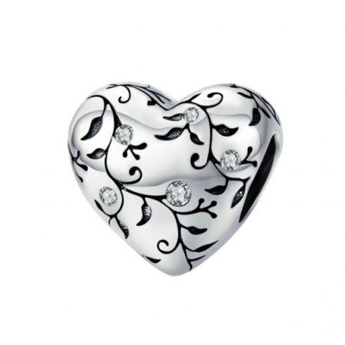 Ezüst charm, szív indamintával