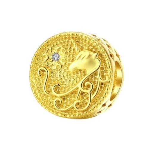 Ezüst charm unikornissal, arany -  Pandora stílus