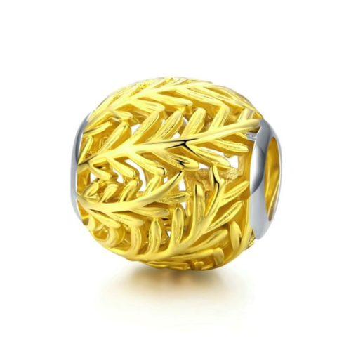 Ezüst charm levélmintával, arany -  Pandora stílus