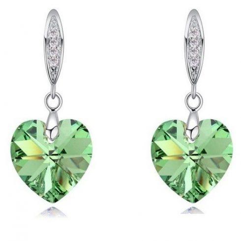 Szív medálos fülbevaló, Peridot zöld, Swarovski köves