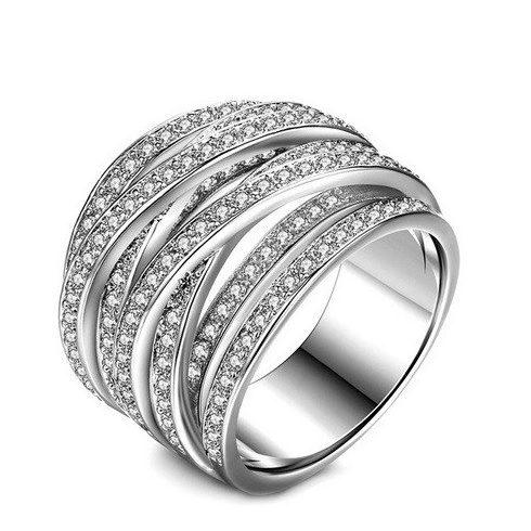 Ezüst színű gyűrű cirkónia kövekkel, 9