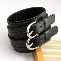 Széles punk karkötő, bőr, fekete, dupla csattal