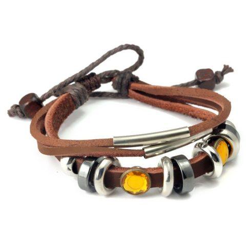 Tripla karkötő, bőr, barna, fém gyöngyökkel