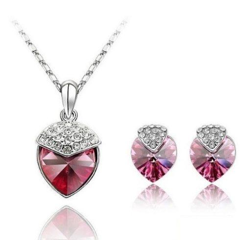 Szív alakú ékszer szett, Rózsaszín, Swarovski köves