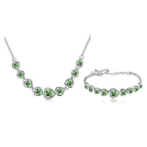 Szíves alakú ékszer szett, Peridot zöld, Swarovski köves