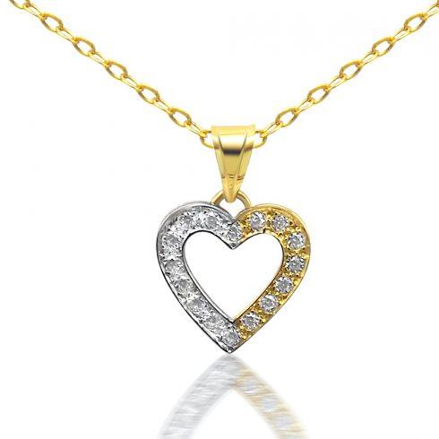 14k arany medál kétszínű, szív alakú